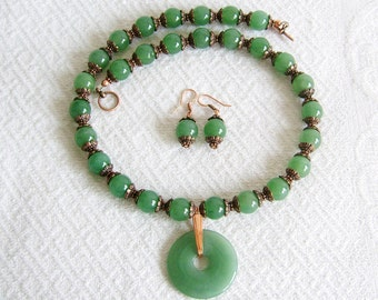 Green Aventurine Donut Necklace with Copper