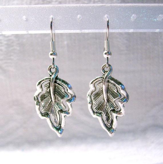 Antiqued Silver Leaf Pierced or Clip On Earring