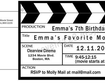 movie invitation | etsy, Powerpoint templates