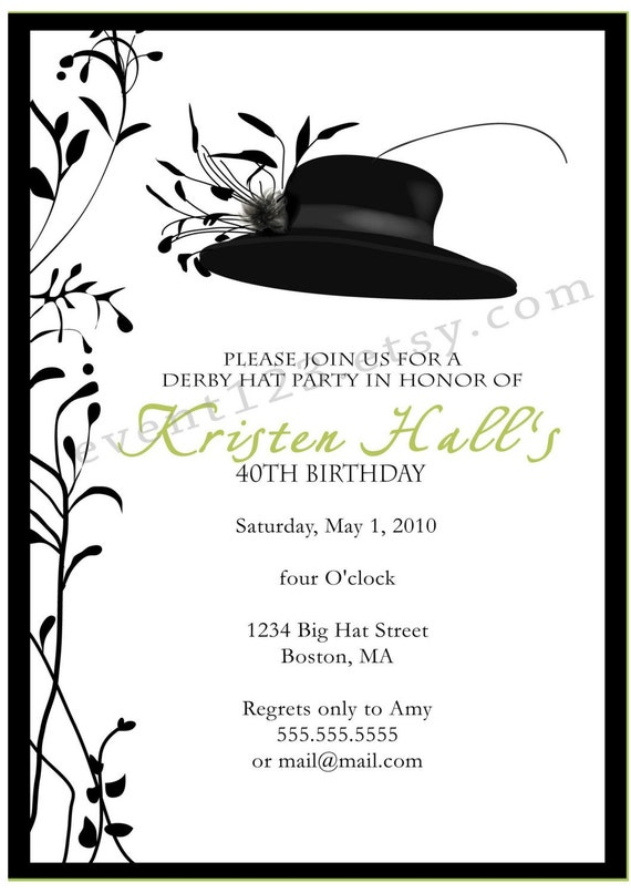 Kentucky Derby Party Invitation Horse Races Party Red – Derby Party Invitations