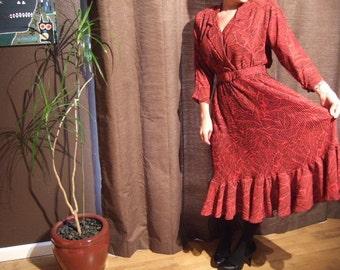 Vintage Retro Pleated Red Black 3/4 Sleeve Dress...