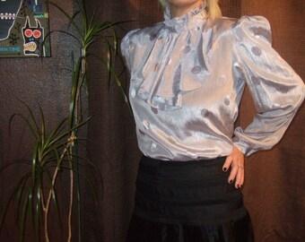 Vintage Silver Metallic Polka Dot Ruffle Secretary Blouse...