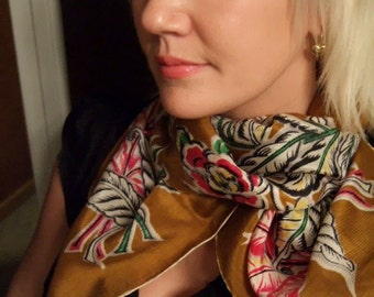 Vintage Silk Floral Scarf...