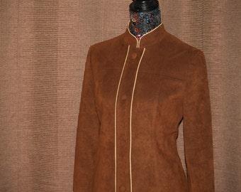 Vintage Brown Ultrasuede Button-Up Coat...