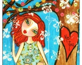 Me and You (True Love Always) Fine Art Print of Mixed Media painting