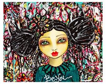 Be You' Graffiti Girl Fine Art Print of Mixed Media painting