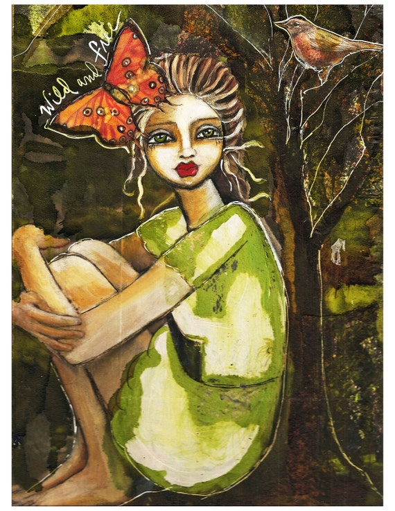 Wild And Free  Fine Art Print of Mixed Media painting