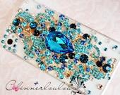 Apple Iphone Case 6 or 5s, Seafoam Blue Gem Mix Iphone rhinestone case