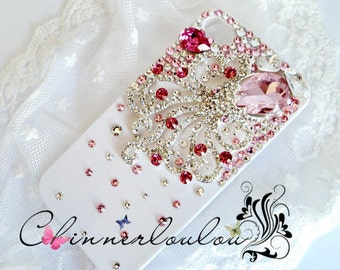 Apple Iphone 5, iphone 6, iphone 7, and plus cover. Swarovski Crystal Rhinetone with Pink Crystalized Octopus,US Free Shipping