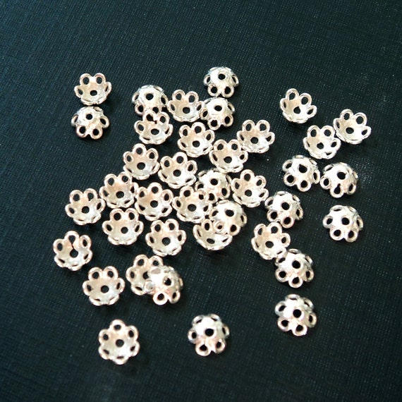 pkg 12, 6mm Bali Sterling Silver bead caps