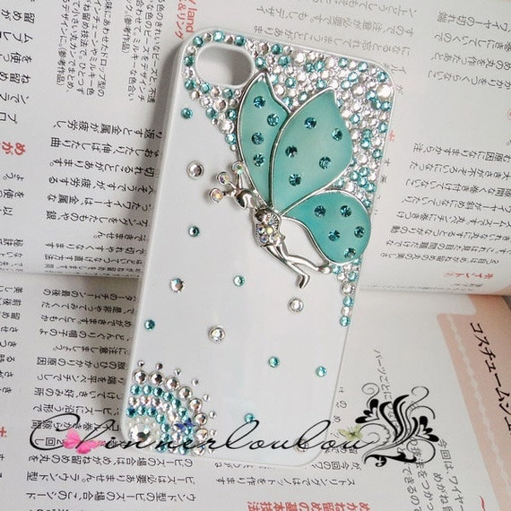 White apple iphone 5s 6 case, blue swarovski crystal rhonetone with matte crystal butterfly,US shipping