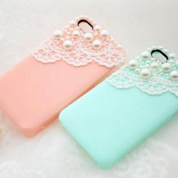 Popsicle apple iphone 5, 6 or SE case, crystal pearl with romantic lace trim, Peach, Ivory, Black