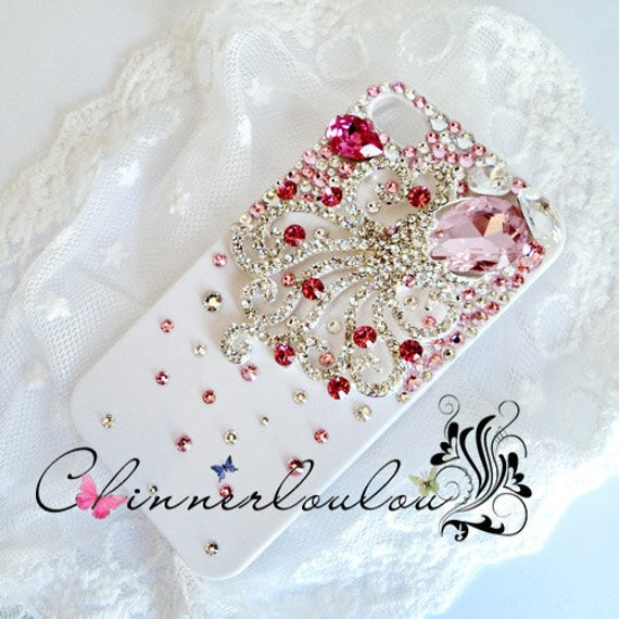 Apple Iphone Case 5 or 4s, Swarovski Crystal Rhinetone with Pink Crystalized Octopus,US Free Shipping