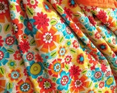Preschooler Sized Retro Floral Print Blanket with Minky