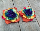 Rainbow Satin Flower Clips - totallytanya