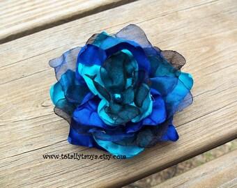 CUSTOM REQUEST IT...Blue Satin and Organza Flower Clip