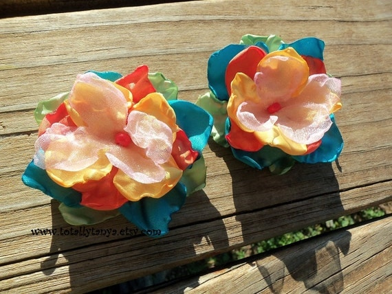 Tropical Satin Flower Clips