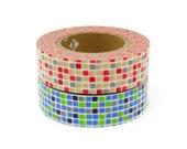 mt Washi Masking Tape - Red & Blue Tiles - Set 2 (15m rolls)