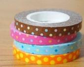 Funtape Masking Tape - Polka Dots in Brown, Hot Pink, Mint Blue & Orange - Slim