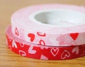 Funtape Masking Tape - Red or Pink Hearts - 6mm Slim