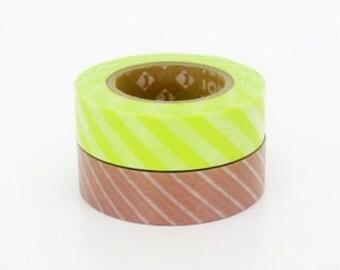 mt Washi Masking Tape - Lime Green & Pink Stripe - Set 2 (15m rolls)
