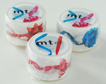 mt ex Washi Masking Tape - Ribbon in Red, Blue or Pink (15m roll)