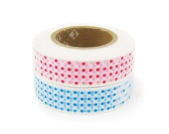 mt Washi Masking Tape - Red & Blue Marble Dots - Set 2 (15m rolls)