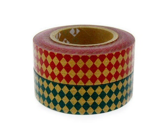 mt Washi Masking Tape - Red & Green Diamond - Set 2 (15m rolls)