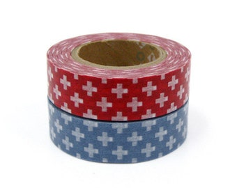 mt Washi Masking Tape - Red & Blue Cross - Set 2 (15m rolls)