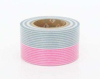 mt Washi Masking Tape - Pink & Smoke Grey Stripe - Set 2 (15m rolls)