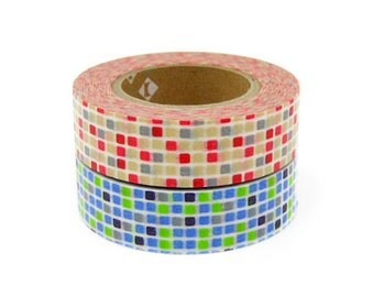 mt Washi Masking Tape - Red & Blue Tiles - Set 2 (15m rolls)