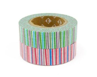 mt Washi Masking Tape - Red & Green Stripes - Set 2 (15m rolls)