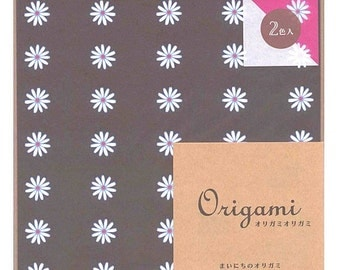 Japanese Origami Paper 15cm (6 inches) - Brown & Pink Daisies