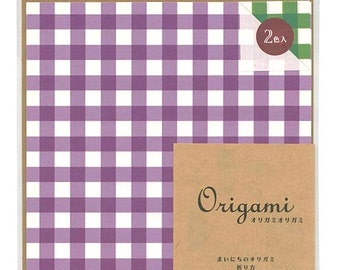 Japanese Origami Paper 15cm (6 inches) - Purple & Green Checks