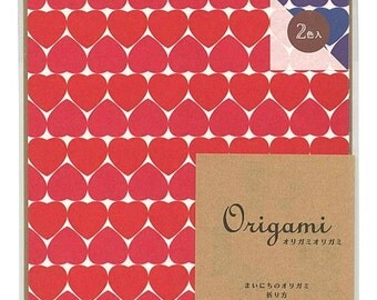 Japanese Origami Paper 15cm (6 inches) - Red & Blue Hearts