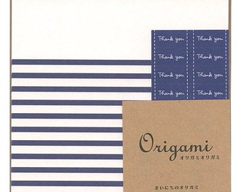 Japanese Origami Paper 15cm (6 inches) - Navy Blue & White Stripes
