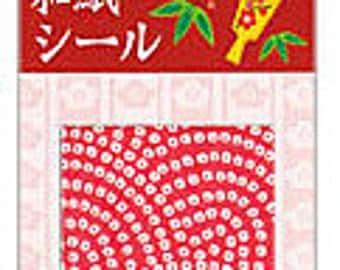 Washi Paper Stickers - Red & White Kimono Squares
