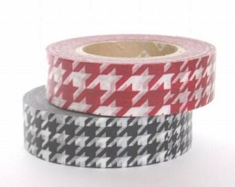 mt Washi Masking Tape - Red & Black Houndstooth - Set 2 (15m rolls)