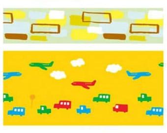 Funtape Masking Tape -  Green Squares & Transport - Wide Set 2
