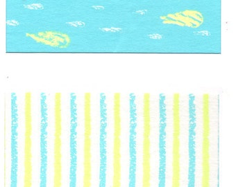 Funtape Masking Tape - Raindrops & Blue Stripes - Wide Set 2