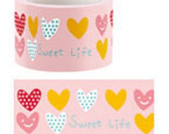 SALE - Funtape Masking Tape - Pale Pink Colourful Hearts - 30mm Wide