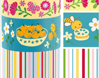 Funtape Masking Tape - Flowers, Bees & Candy Stripes - Wide Set 3