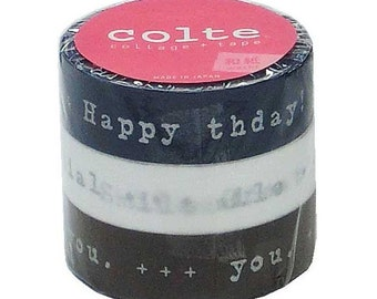 Colte Washi Masking Tape - Silver Gift Messages - Set 3