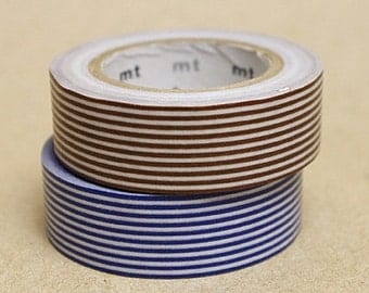 mt Washi Masking Tape - Navy Blue & Brown Stripes - Set 2
