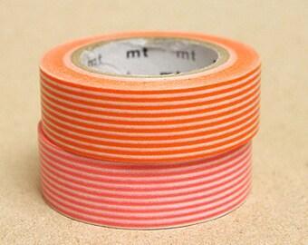 mt Washi Masking Tape - Orange & Coral Pink Stripes - Set 2