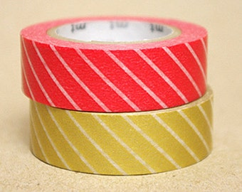 mt Washi Masking Tape - Red & Gold Stripes - Set 2