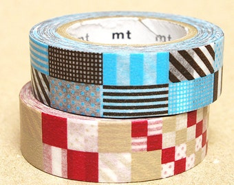 mt Washi Masking Tape - Red & Blue Mixed Patches - Set 2