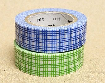 mt Washi Masking Tape - Green & Blue Checks - Set 2