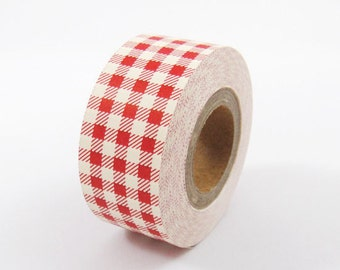 Cartonnage Tape - Red Checks - 25mm Wide