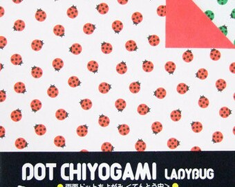 Japanese Double-Sided Origami Paper - Ladybugs - 15cm (6 inches)